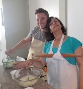 Mel and Royce mixing the wet ingredients (and salt).  Smile!