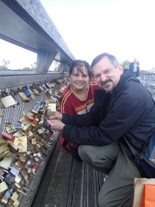 We put a lock on a bridge in Paris. Apparently, it means you will lock your hearts together, or lock the relationship...something to do with love and locks...I probably should have looked it up first. But either way, Andre is totally stuck with me now.
