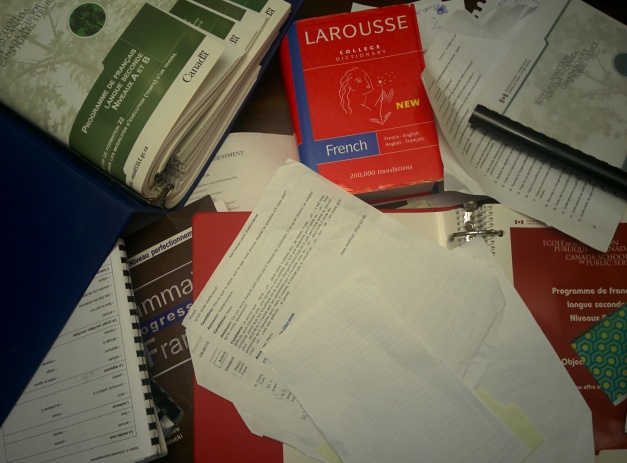 Picture of notes and textbooks.